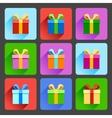 flat gift box icons set vector image vector image