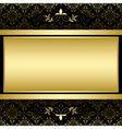 golden frame on black vintage pattern vector image vector image