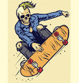 hand drawing style skull play skateboarding vector image vector image