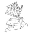 hand drawn house in present box with red ribbon vector image