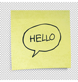hello in speech bubble vector image vector image