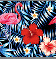 hibiscus flamingo plumeria palm leaves blue vector image vector image