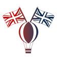 hot air balloon and british flags vector image
