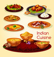 Indian cuisine dinner dishes cartoon menu design vector image