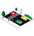 isometric automobile traffic cartoon city road vector image