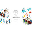 isometric business people and elements template vector image vector image
