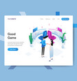 landing page template good game isometric vector image vector image