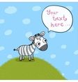 Little cute zebra in the meadow vector image