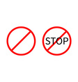Prohibition no symbol Red round stop warning sign vector image vector image