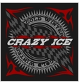 Racing emblem crossed checkered flags wheel and vector image vector image