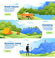 set banners with park camp and mountain vector image