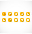 set of orange number icons vector image vector image