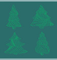 set with green isolated patterned christmas trees vector image vector image