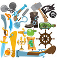 set with pirate attributes various items medieval vector image vector image
