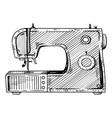 sewing machine engraving vector image vector image