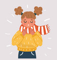 sick girl suffering from sore throat vector image