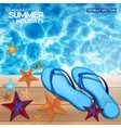 summer background with blue flip-flops vector image