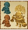 three stone statue of mayan figures vector image vector image