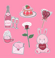 valentine s day stickers in pink colors graphics vector image