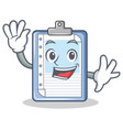 waving clipboard character cartoon style vector image vector image