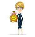 woman with dollar signed bag vector image vector image
