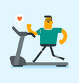 young caucasian white man running on treadmill vector image