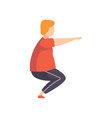 young fat man doing squats obesity man wearing vector image vector image