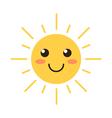 Flat design smiling cartoon sun vector image