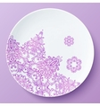 plate with pink ornate pattern vector image