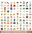 100 cosmetic advertising icons set flat style vector image