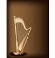A Beautiful Harp on Dark Brown Background vector image vector image