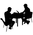 black silhouette two men sitting behind computer vector image