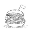 burger in engraving style design element for logo vector image