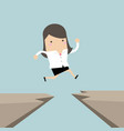 businesswoman jump through the gap from cliff vector image vector image