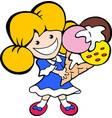 cartoon of an happy smiling young icecream girl vector image vector image