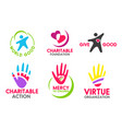 charity foundation icons with peoples and hands vector image