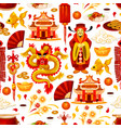 chinese lunar new year symbols pattern vector image vector image