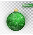 christmas bauble green glitter isolated on white vector image vector image