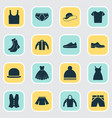 clothes icons set collection of elegance stylish vector image vector image