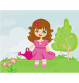 cute girl with watering can in garden vector image vector image