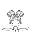 dotted shape girl dancing ballet with two buns vector image