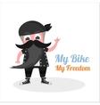 flat grandfather biker vector image vector image