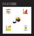 flat icon graph set of segment statistic vector image vector image
