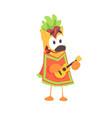 funny cartoon fajita wrap character mexican vector image vector image
