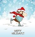 Funny Cartoon Skating Monkey vector image