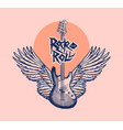 guitar with angel wings hand drawn grunge sketch vector image vector image