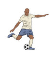 hand drawn sketch footballer in color isolated vector image vector image