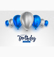 happy birthday blue and silver white shiny vector image