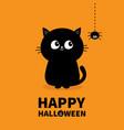 happy halloween pumpkin text black cat sitting vector image