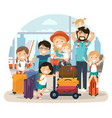 happy numerous family at the airport waiting for vector image vector image